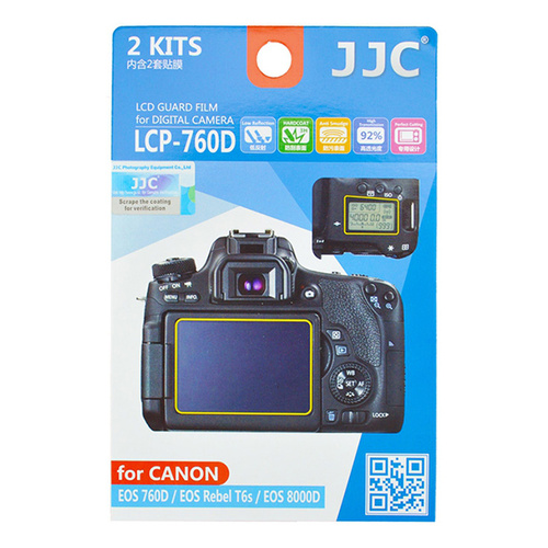 JJC 2x LCD Screen Protector Guard Top & Back for Canon EOS 760D Rebel T6S 8000D